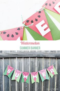 Use your banner punch board and Cricut to easily create this fun and colorful watermelon banner for your next summer party! Watermelon Crafts, Watermelon Birthday, Watermelon Baby, Party Girlande, Banner Shapes, Paper Banners, Paper Bunting, Paper Crafts, Diy Crafts