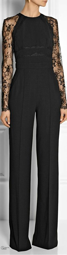 Elie Saab Paneled lace and crepe jumpsuit.you know I love a jumpsuit! Look Fashion, High Fashion, Womens Fashion, Fashion Design, Fashion Wear, Fashion Black, Fall Fashion, Fashion Trends, Beautiful Outfits
