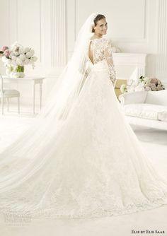 elie by elie saab 2014 birgit long sleeve wedding dress back view train
