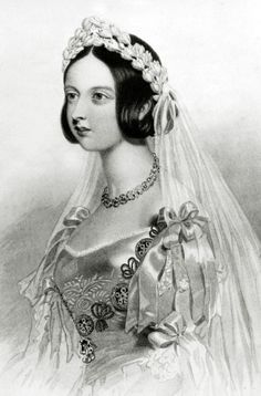 Queen Victoria (1840). Victoria becomes Queen in 1837 and for years to come, becomes a style icon across the globe. She was known for her simple and demure elegance. She was also known for coining the use of a white dress for a wedding.