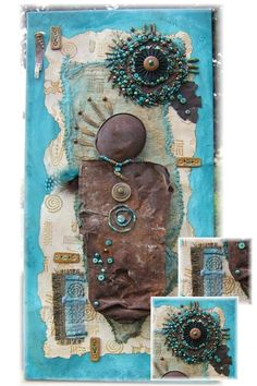 """""""Petroglyph"""" 10"""" x 20"""" mixed media canvas by Cindy Chavez  Rusted metal aerosol can found at petroglyph site (as well as assorted other rusted pieces)...handmade paper, silks, stoneware buttons, bronze elements and freeform beadwork. www.freeforminspirations.com"""