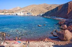 Red volcanic rock beaches, Santorini Greece