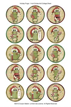 One Inch Digital Images Holiday Frogs Diy Gift Baskets, Christmas Gift Baskets, Handmade Christmas, Christmas Crafts, Christmas Ideas, Digital Form, Digital Image, One Inch, Bottle Caps