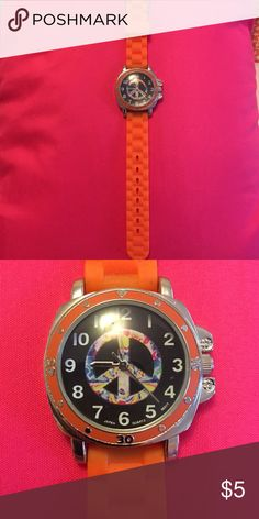 So Silver Tone Rainbow Peace Sign Mood Watch Juniors 9 99 Peace Sign With Color On Inside