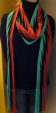 Striking Lightning Sash/ Finger Woven by seeworks on Etsy, $350.00 #weaving, #fingerwoven