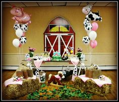 Down on the Farm/All About Tractors Birthday Party Ideas Farm Animal Party, Farm Animal Birthday, Barnyard Party, Cowgirl Birthday, Cowgirl Party, Farm Birthday, Farm Party, 3rd Birthday Parties, Birthday Ideas