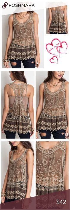"""⚡️30% OFF BUNDLES⚡️ Sheer Racer Back Tank  M/L Sheer racer back tank cotton blend.  Color is mocha. Size  M/L (woman's 8-12) bust measures 21"""" little stretch and is 25"""" long.  No Trades ✅Reasonable Offers Are Considered✅ Use the blue offer button. Tops"""