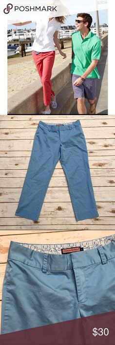 "Vineyard Vines Cropped Chinos Adorable crop pants in excellent condition. Total length of pants is 33.5"" and inseam measures 25.5"". Color is more baby blue. Vineyard Vines Pants Ankle & Cropped"