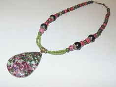 Gemstone Beaded Necklace Green and Raspberry by FunNFunkyJewelry, $15.00