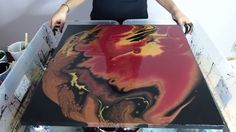 Fluid Acrylic Pouring Painting Red & Black & Gold - YouTube