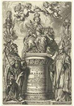 De getroonde Brabantia, met Karel de Grote en H. Albert van Leuven, Mattheus Borrekens, naar Abraham van Diepenbeeck, ca. 1641 - Rijksmuseum