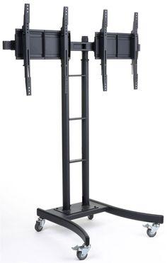 "Dual TV Stand w/ 2 Mounts, Fits Monitors 32""-65"", Adjustable Bracket, Wheels - Black"