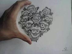 I would probably want this as a tattoo! I love the minions! Minion Sketch, Minion Drawing, Minion Art, Minions Love, Minion Painting, Image Minions, Minions Images, Minion Pictures, Pencil Art Drawings