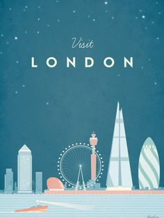 Vintage Travel london england uk river thames boat skyscraper skyline shard gherkin city vintage travel retro illustration architecture - See amazing artworks of Displate artists printed on metal. Easy mounting, no power tools needed. Travel Illustration, Retro Illustration, Poster S, Poster Prints, Cool Room Decor, Vintage Travel Posters, Poster Vintage, Boating Holidays, London England