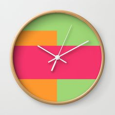 Pink, Green and Orange Wall Clock by bravelyoptimistic Orange Wall Clocks, Wood Clocks, Green And Orange, Watch, Ideas, Design, Products, Clock, Bracelet Watch