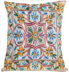 Hand embroidered authentic silk kashmir cushion cover | eBay