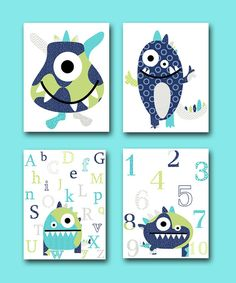 Monster Nursery Alphabet Nursery Numbers Wall by artbynataera