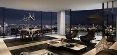 Dream Home Design, Home Interior Design, House Design, Luxury Penthouse, Luxury Apartments, Luxury Jets, Luxury Homes Dream Houses, Floor To Ceiling Windows, Master Bedroom Design
