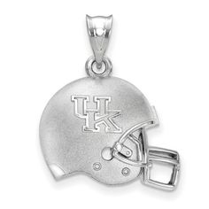 Sterling Silver The University of Kentucky UK 3D Football helmet with Logo Pendant, Manufacturer Part Number: SS505UK at HomeBello.