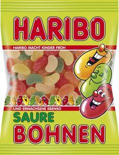 Haribo Saure Bohnen 200g, 5 Beutel Fruchtgummi Beutel Haribo Fruchtgummi Beutel