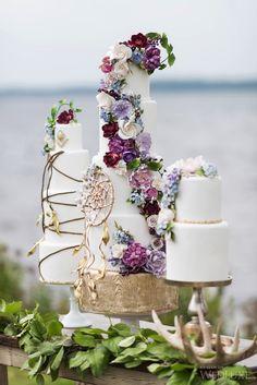 New Ideas For Wedding Cakes Boho Dream Catchers Dream Catchers, Dream Catcher Cake, Dream Catcher Wedding, Dream Wedding, Beautiful Wedding Cakes, Beautiful Cakes, Perfect Wedding, Amazing Cakes, Native American Cake