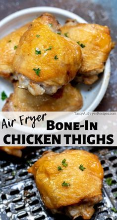 These Air Fryer Chicken Thighs Bone In will be the juiciest chicken thighs you have ever eaten. It takes about 20 minutes to air fry and serve your chicken dinner. #airfryerrecipes #airfryerchickenrecipes #airfryer #lowcarbairfryerrecipes #chickenrecipes #dinnerrecipes Ways To Cook Chicken, Healthy Chicken Recipes, New Air Fryer Recipes, Fried Chicken Dinner, Air Fryer Chicken Thighs, Air Fried Food, Kitchen Recipes, Oven Recipes, Meat Recipes
