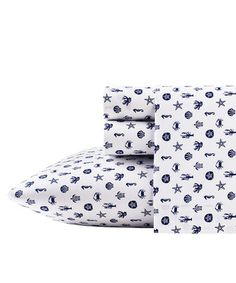 Loving this Blue Sea Icons Sheet Set  -- lobsters, starfish, crabs, sand dollars, coral & seahorses!! How sweet! Nautical bedding Navy & white