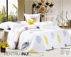 Lenjerie de pat bumbac satinat Casa New Fashion alba cu frunze Comforters, Satin, Blanket, Bed, Furniture, Home Decor, Homemade Home Decor, Stream Bed, Elastic Satin