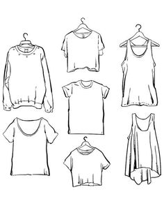 Off Sale Vector Woman clothing set outline clipart commercial use, vector graphics, digital clip art, digital images (EPS, JPG) - Source by - Fashion Design Drawings, Fashion Sketches, How To Draw Shirts, How To Draw Clothes, Art Drawings Sketches, Cute Drawings, Illustrations Vintage, Vintage Logo, Shirt Drawing