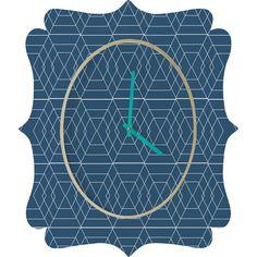 Vy La Blue Hex Quatrefoil Clock