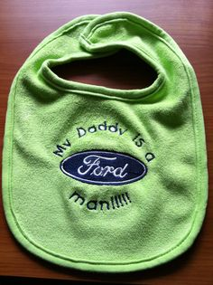 Embroidered Bib Ford by EmbroideryByTash on Etsy, $8.00