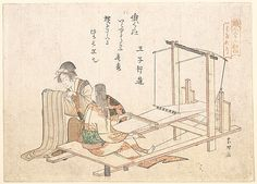 The Weaving Factory  Katsushika Hokusai  (Japanese, 1760–1849)  Period: Edo period (1615–1868) Date: ca. 1802 Culture: Japan Medium: Polychrome woodblock print (surimono); ink and color on paper