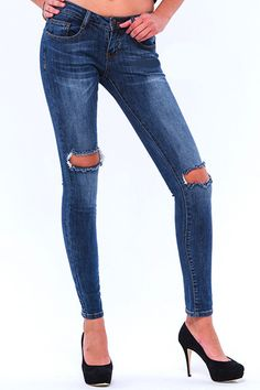Machine Jeans Knee Slit Cutout Destroyed Skinny Denim Medium Wash