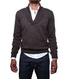 Brown Shawl Collar Sweater