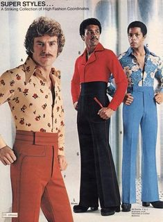 Straight from men's fashion magazine ads and groovy catalogs like JC Penny and Flagg Bros., these men's fashions are far out! Add these groovy threads to y Moda Disco, 70s Outfits, Vintage Outfits, Fashion Outfits, Grunge Outfits, Fashion Fail, Fashion Pants, Fashion Trends, 1970s Fashion Men