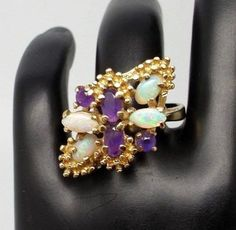 14K Yellow GOLD - OPAL & AMETHYST CLUSTER RING - Opal OCT. BIRTHSTONE  7 1/4 #Custommade #Cluster