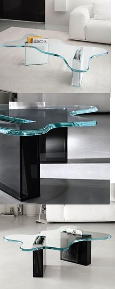 Dekon 2' Glass Coffee Table From Tonelli Designed By Karim Rashid