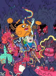 Adventure Time with Finn and Jake, and some strange creatures.