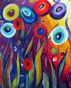 Original moderno flores pintura grande Whimsical por LUIZAVIZOLI Original modern large painting flowers Whimsical by … Large Painting, Fabric Painting, Painting & Drawing, Painting Flowers, Painting Process, Flower Canvas, Flower Art, Diy Canvas Art, Easy Paintings