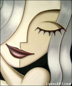Artwork by Calgary artist, oil painter Jeff Lyons. Playful female portraits, strange surrealism, pop abstract art oil paintings, art prints and merchandise Abstract Face Art, Cubism Art, Arte Pop, Portrait Art, Female Portrait, Portraits, Female Art, Pop Art, Art Drawings