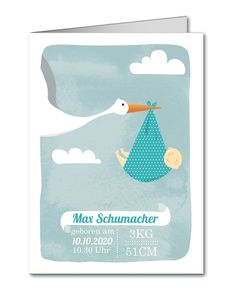 Geburtskarte Storch blau (C-815)
