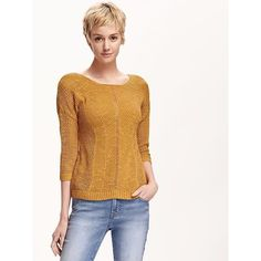Old Navy Womens Hi Lo Open Knit Pointelle Sweater ($23) ❤ liked on Polyvore featuring tops, sweaters, gold, pointelle sweater, long white sweater, round neck sweater, drop shoulder tops and white open knit sweater