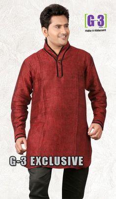 G3 fashions Maroon Linen Short Pathani Kurta  Product Code : G3-MSP1018 Price : INR RS 2154