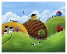 Hilly Homes Giclée Archival Print Paper or by BriannasArtwork