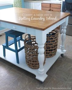 Rolling kitchen island #campbell #s #kitchen http://kitchen.nef2.com/rolling-kitchen-island-campbell-s-kitchen/ #rolling kitchen island # How to Turn a Table into a Rolling Island Hi! Jackie here from Teal Lime bringing you one awesome furniture transformation! I believe your home and everything in it needs to serve a function, and serve it well. If something isn t working, it is important to change it up and make it work for you! Lately, I felt our laundry room was not working for us. And…