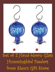 HUMMINGBIRD FEEDER SET OF 2 HAND-BLOWN BLUE GLASS IRON BIRD NECTAR ATTRACTANT   All items available in bulk at discounted prices.  http://stores.ebay.com/Slems-Gift-Store or order directly from me at dslem3@yahoo.com for 20% off anything in the store!