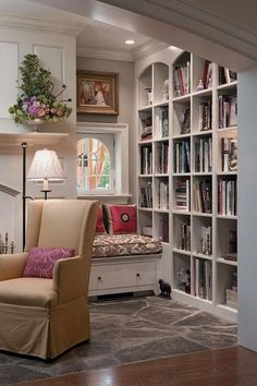Home Library with Window Kindesign. Even in a long, narrow office, this configuration of shelves and window seat could make it feel more squared and cosy. Sweet Home, Home Libraries, Cozy Nook, Cozy Corner, Cosy, Bed Nook, My New Room, Built Ins, Design Case