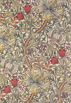 Golden Lily Rug A thick pile rug featuring an intricate design of intertwined lilies in olive, red and yellow on cream.