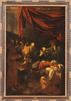 The death of the Virgin / La Mort de la Vierge // 1601-1605/1606 // Michelangelo Merisi, dit Caravage (CARAVAGGIO) // Commandé en 1601 pour l'église Santa Maria della Scala in Trastevere de Rome,ce tableau n'a dû être achevé qu'en 1605/1606.Refusé par les moines de l'église,il fut remplacé par une oeuvre de même sujet peinte par Carlo Saraceni.