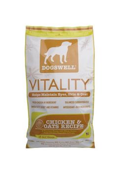 $33.35-$45.98 Dogswell Vitality for Dogs, Chicken & Oats Recipe Dry Dog Food, 22.5-Pound Bag - VITALITY™ Chicken & Oats Recipe contains fresh chicken as the first ingredient, balanced carbohydrates, fresh fruits and vegetables, and chelated minerals.  As an added benefit, we add Omega 3 and 6 fatty acids and Vitamins A and E to help maintain your dog's healthy skin and shiny coat. http://www.amazon.com/dp/B001NZVWF8/?tag=pin2pet-20